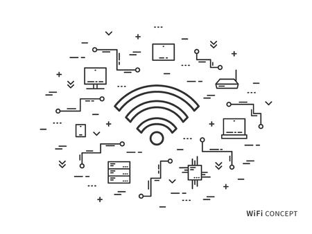 Ilustración de vector lineal wifi. Concepto plano creativo wifi, servidores, laptop. Diseño gráfico online wifi gratuito. Ilustración de vector