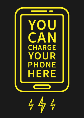 Charge Your Phone Here vector illustration. Creative graphic design poster. Phone charging process. Creative concept for electronic devices charging.