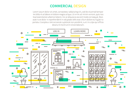 Commercial interior design linear vector illustration. Line graphic design of retail shop, store. Creative concept of flat interior design website page banner.