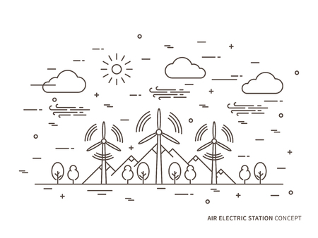Linear air electric station, wind energy park, wind power station vector illustration. Air energy, wind-energetic, wind-driven creative concept. Air electricity, wind turbine, wind motor, wind-driven powerplant graphic design.