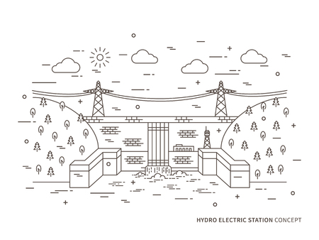 Linear hydro electric station, hydroelectric power plant vector illustration. Hydro power engineering, waterpower plant, hydroelectric plant, hydroplant creative concept. Hydro electricity, hydroelectric power station, hydropower engineering graphic design.