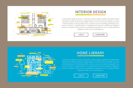 Vector linear interior design illustration for landing page, banner. Creative graphic concept for furniture, architecture, design corporate website.