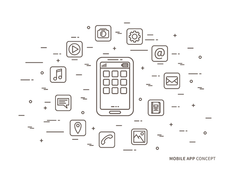 Linear mobile app, phone application vector illustration. Smartphone app icons creative concept.