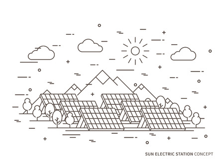 Linear sun electric station, solar energy park, solar power station vector illustration. Solar power engineering, solar power plant, solar plant creative concept. Solar electricity, solar thermal power system, solar cell panel graphic design.