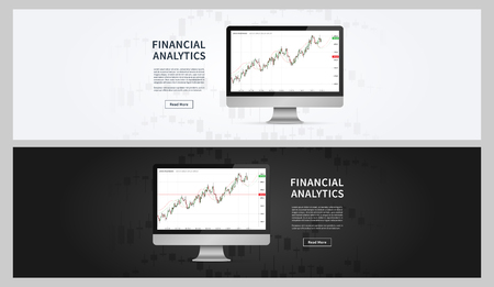 Financial analytics chart vector banners. Financial statistic data for stock trade on desktop computer graphic design. Stock market index financial analytics concept. Ilustrace