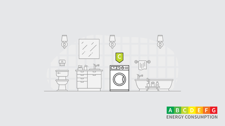 Energy consumption of washing machine vector illustration. Bathroom interior with washing machine and energy efficiency rank line art concept. Electric household appliance with energy rating index.