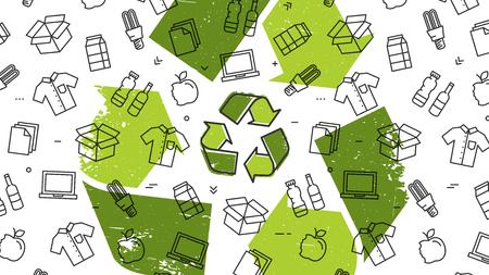 Il grunge ricicla il segno con l'illustrazione di vettore dei prodotti riciclabili. Cose riciclabili da riutilizzare: vestiti, lampada, scatola di cartone, ecc. Vettoriali