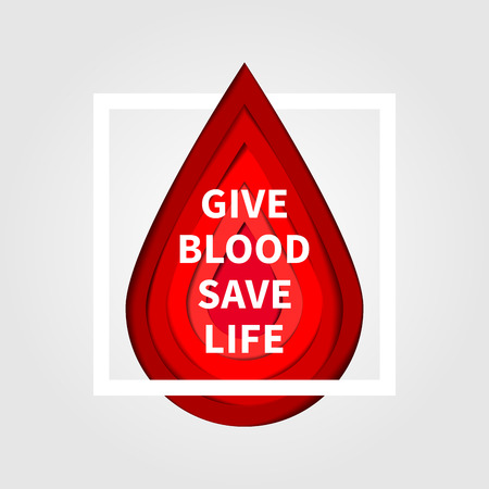 Red drop paper cut style vector illustration. Blood Donation minimal concept with slogan Give Blood Save Life. Lifesaver campaign poster template graphic design.
