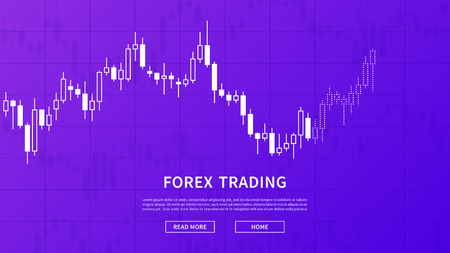 Stock market chart graph vector banner on purple background. Online trading web banner concept. Forex trade candlestick chart graphic design. Ilustrace
