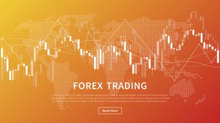 Grafico del bastone della candela dell'insegna di vettore del commercio del mercato finanziario. Grafico di trading Forex con mappa del mondo per la progettazione grafica del progetto fintech.