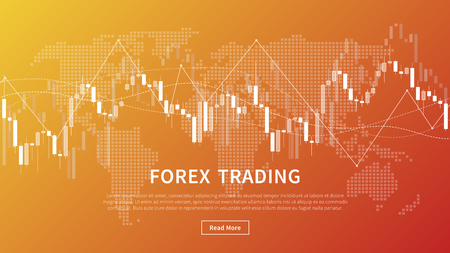 Candle stick chart of financial market trade vector banner. Forex trading graph with world map for fintech project graphic design.