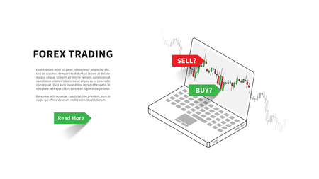 Forex trading landing page vector illustration. Laptop with trading candlestick chart, graph graphic design. Landing page template for fintech projects.