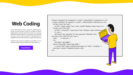Web coding landing page vector illustration. Programmer with laptop and html code webpage template.