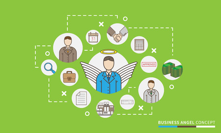 Business angel startup vector illustration. Investor relations design concept. Venture funding scheme, map. Ilustrace