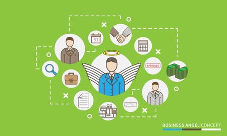 Business angel startup vector illustration. Investor relations design concept. Venture funding scheme, map. Illustration