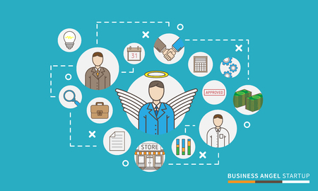 Illustration vectorielle de business angel startup. Concept de conception de relations avec les investisseurs. Schéma graphique de financement de capital-risque, carte.