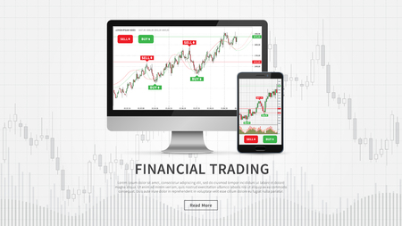 Desktop and smartphone with financial trade charts vector illustration. Candlestick trading graph forex market webpage concept.