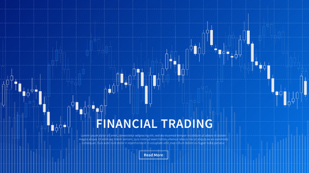 Financial trade chart forex market vector illustration on blue background. Candlestick trading graph design concept.