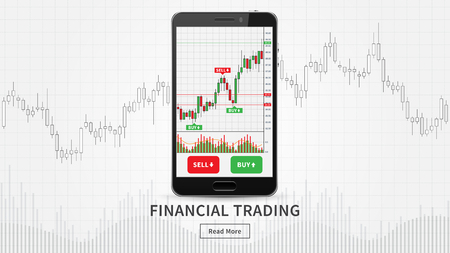 Smartphone with financial trade charts vector illustration. Candlestick trading graph forex market on mobile app concept.