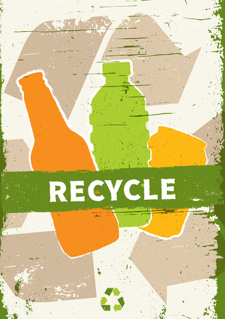 Plastic and glass recycling vector illustration. Creative graphic design with recycle sign and grunge texture. Ilustrace