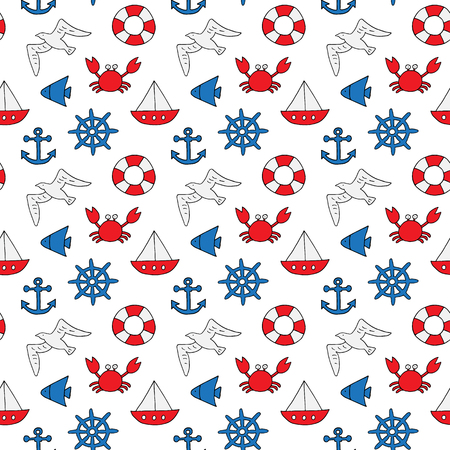Seamless vector pattern with anchor, steering wheel, lifebuoy, boat, fish and crab. Aquatic pattern for wallpaper, background, textile, fabric, wrapping paper. Sketched art hand drawn graphic design