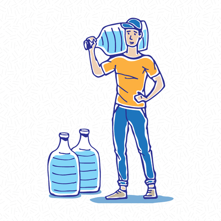 Drinking water deliveryman, carrier vector illustration. Potable water delivery man hand drawn graphic design. Office water shipping worker sketch art concept.