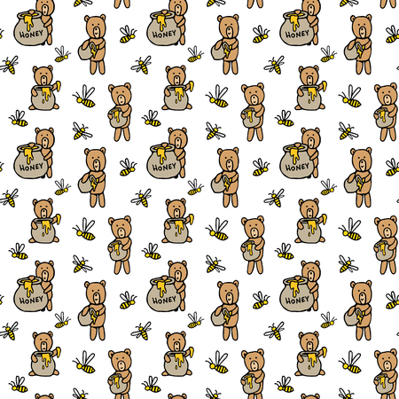 Seamless vector pattern with bears, honey pots and bees. Cute pattern with hand drawn honeybees, funny bears for wallpaper, background, textile, fabric. Sketched art hand drawn graphic design