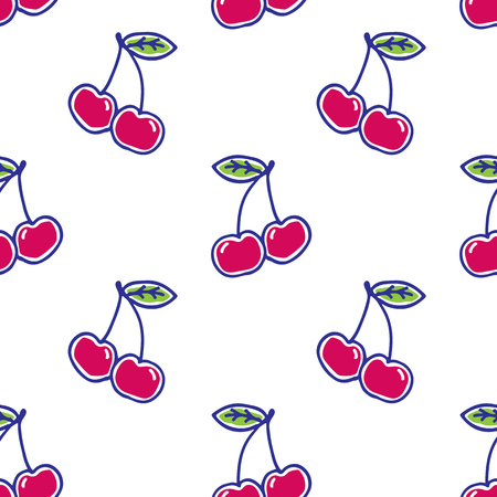 Cherry hand drawn pattern vector illustration. Cherry berries hand drawn sketch seamless pattern.