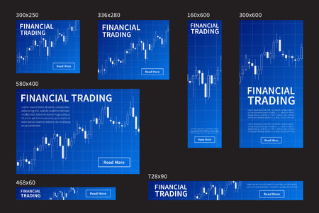 Forex stock website banners set. Vector website banners for financial trading, stock exchange market with candlestick chart. Banner templates rectangles, skyscrapers with forex trade graph concept. Ilustrace