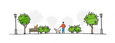 Man with dog walking in park vector illustration. Hand drawn urban life sketch art.