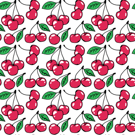 Cherry hand drawn pattern vector illustration. Cherry berries with green leaves hand drawn sketch seamless pattern.