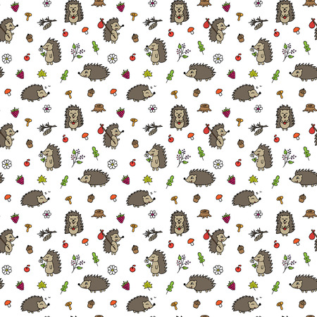 Hedgehogs seamless vector pattern. Hand drawn hedgehogs, leaves, mushrooms, fruits seamless pattern for background, textile, fabric, wrapping paper