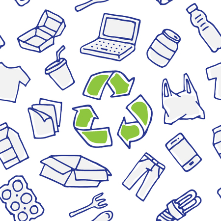 Recyclable things vector seamless pattern. Clothes, energy-saving lamp, package box, cardboard, paper elements with recycle label hand drawn doodle concept