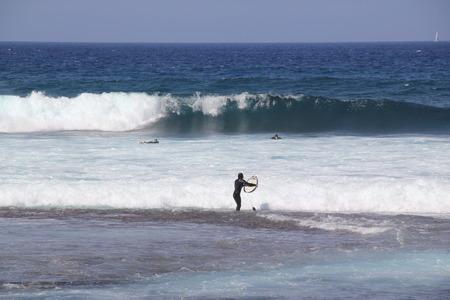 surfers: Spain, Tenerife, ocean and surfers