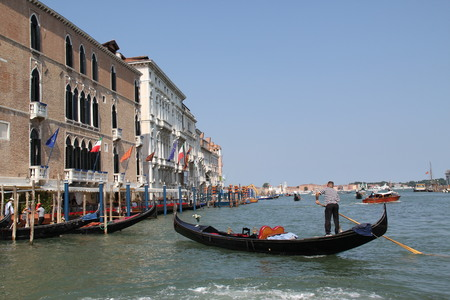 gondolier: Italy, Venice, gondolier on the Grand Canal