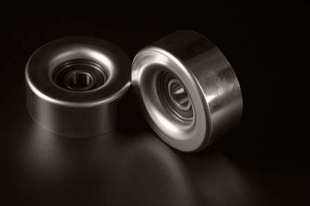 machined: Machine parts on a black background