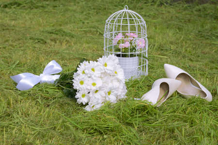 wedding accessories: Wedding accessories on the grass Stock Photo