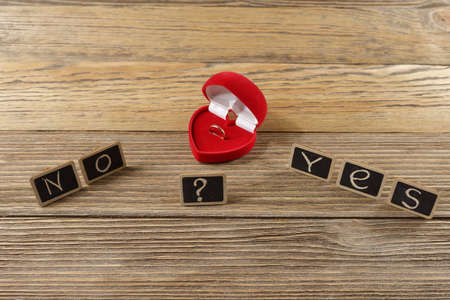 the word of the letters, yes or no, marriage proposal Stock Photo