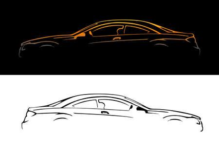 Una silueta de un coche, ilustración vectorial. Ilustración de vector