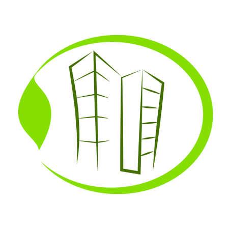 air awareness: Green eco building vector icon.