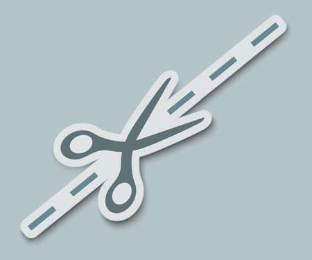 Vector scissors cutting paper on a gray background Ilustracja