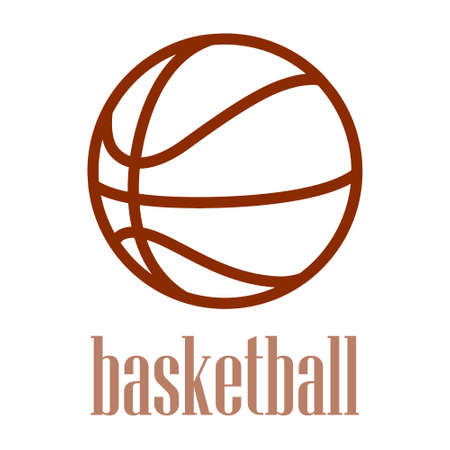 ball pen: illustration of a basketball outline isolated in white background. Illustration