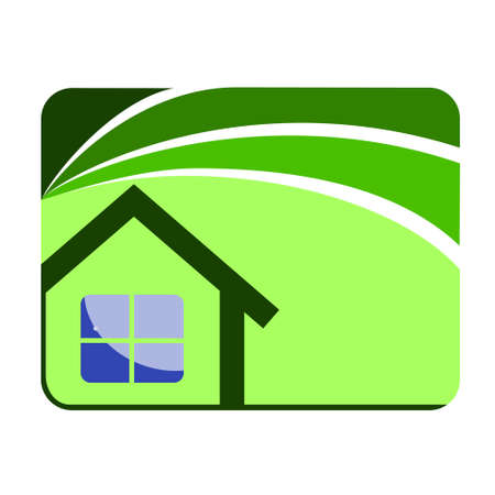 Icon House and swoosh road vector design
