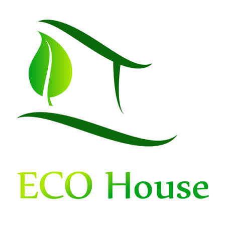 natural arch: Eco House Vector green, illustration Illustration