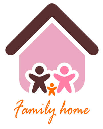 Family and home concept. Silhouette family icon and house. Vector illustration Vector