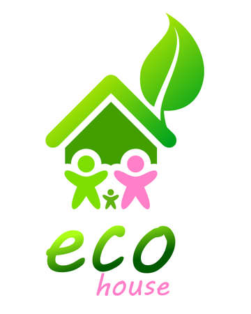 green home and happy family, vector illustration Ilustracja