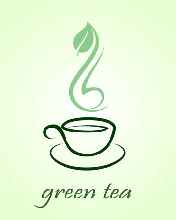 instant coffee: Vector icon of green tea cup,  illustration Illustration