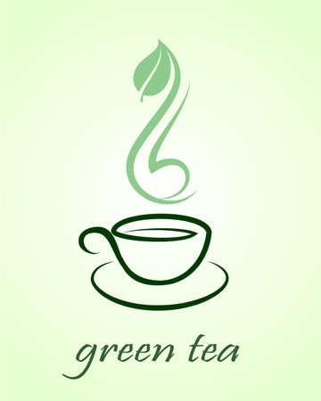 Vector icon of green tea cup,  illustration Ilustracja
