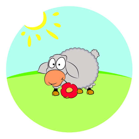 sheep on the lawn vector illustration Ilustrace
