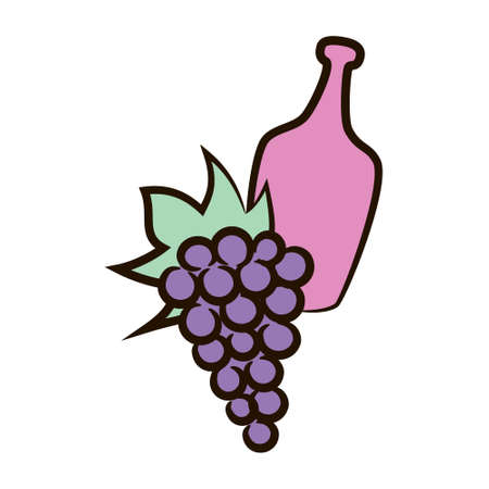 Bottle and grapes